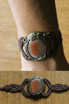 Celtic Fire, with crackle fire agate. Apoxie sculpt and macrame. See more at www.facebook.com/ForestSpiritJewelry
