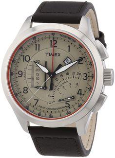 Timex  Timex IQ Linear Chrono - Reloj de cuarzo para hombre, con correa de cuero, color marrón