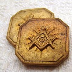 Vintage Freemason brass stampings, heavy struck, 2 pcs