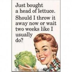 Just bought a head of lettuce. Should I throw it out now or wait two weeks like I usually do? Retro Humor, Vintage Humor, Retro Funny, Funny Vintage, Funny Shit, Haha Funny, Funny Stuff, Funny Things, 9gag Funny