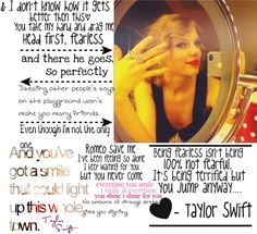 """""""Taylor Swift Song Quotes"""" by brooke-elizabeth-mcilwain ❤ liked on Polyvore"""