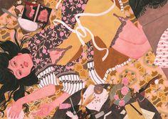 A watercolor and gouche painting entitled: Litterhead by artist: Riikka Sormunen