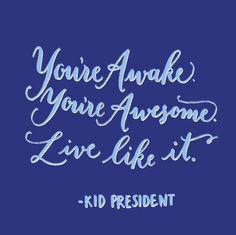 You're Awake. You're Awesome. Live like it. (Kid President)