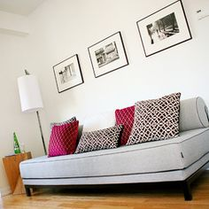 ** Twin bed as sofa, classic look.