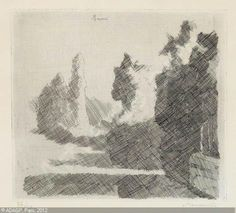 MORANDI Giorgio, 'Paesaggio' ca1930, cross-hatching is a way that line can be used to show value.