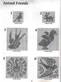 crochet book - 101 Filet Crochet Charts - Raissa Tavares - Álbuns da web do Picasa Filet Crochet Charts, Crochet Motifs, Crochet Diagram, Knitting Charts, Crochet Patterns, Cross Stitch Bird, Cross Stitching, Cross Stitch Patterns, Crochet Birds