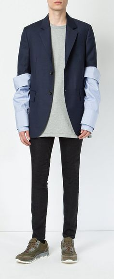 DELADA striped layered sleeves blazer, explore new season Delada on Farfetch now.