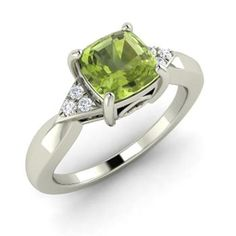 RS JEWELS 14K White Gold Plated On .925 Sterling Silver Solitaire Look 1.00 ct Peridot Engagement Ring For Womens ** You can get additional details at the image link. (This is an affiliate link) #Rings