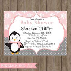 CUSTOMIZABLE PRINTABLE DIY Sweet Little Girl Penguin Baby Shower Invitation -  by Pixels n Ink by PixelsnInk on Etsy https://www.etsy.com/listing/218348488/customizable-printable-diy-sweet-little