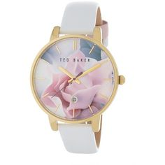 Ted Baker London Women's Rose Pattern Dial Watch ($70) ❤ liked on Polyvore featuring jewelry, watches, rose gold with flowers, floral watches, flower jewelry, flower watches, flower charms and colorful jewelry