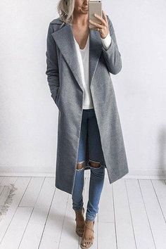 Fall coat in grey. Love this long grey tench coat. Fashion Long Sleeves Causal Outerwear in Grey. Fall Winter Outfits, Autumn Winter Fashion, Winter Wear, Casual Winter, Cozy Winter, Winter Dresses, Winter 2017, Winter Style, Mode Outfits