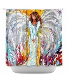 Shower Curtains Artistic Decorative Designer Unique | Karen Tarlton's Angel Watching Over Me