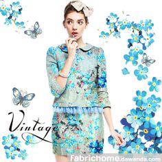 Elástica Satén,Tela flores,Seda,Azul flores,Moda de Fabrichome por DaWanda.com