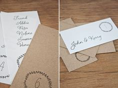 Free printable escort cards and table numbers