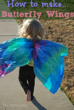 Tutorial: Floaty fabric butterfly wings for kids' dress-up Fabric Butterfly, Butterfly Party, Butterfly Dress, Butterfly Wings Costume, Diy For Kids, Crafts For Kids, Summer Crafts, Kids Fun, How To Make Butterfly