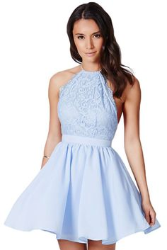 Baby Blue Cross Back Lace Detail Party Skater Dress https://www.modeshe.com