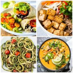 50 amazing vegan weight loss diets (gluten free and low in calories) - Healthy Food Gluten Free Recipes For Breakfast, Gluten Free Dinner, Dog Food Recipes, Vegan Recipes, Vegan Meals, Low Calorie Desserts, Vegan Desserts, Tofu Burger, Bbq Tofu