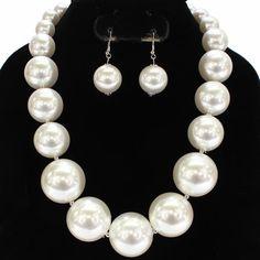 "19"" large faux pearl necklace bib collar choker"
