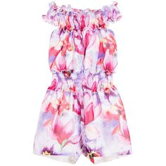 59f9e0f216 Girls pink floral playsuit by Love Made Love. Made in lightweight chiffon