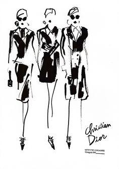 Fashion illustration - fashion sketches of Christian Dior Fall 2016