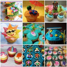 Summer Cupcake Ideas - love the sun made from fruit roll-ups!