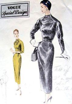 1950s Cocktail Evening Dress Pattern Vogue Special Design 4451 Dramatic Gathered Neckline Bust 32 Vintage Sewing Pattern