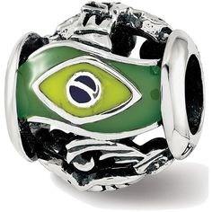 Sterling Silver Reflections Enameled Brazil Theme Bead (€31) ❤ liked on Polyvore featuring jewelry, sterling silver jewelry, bead jewellery, sterling silver jewellery, enamel jewelry and sterling silver bead jewelry