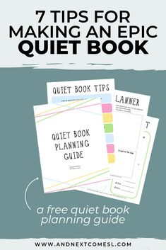 Find out how to make your first quiet book with awesome tips then browse tons of quiet book page ideas and patterns. Don't forget to grab a copy of the free planning guide so that you can make an awesome busy book in no time! Diy Quiet Books, Baby Quiet Book, Felt Quiet Books, Quite Book Patterns, Pattern Making Books, Baby Book To Read, Sensory Book, Baby Sensory, Quiet Book Templates