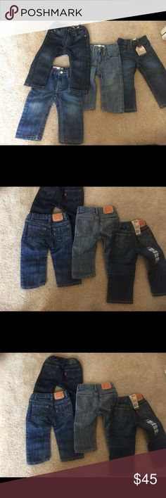 Levi boy toddler jeans 12 and 12-18m *deal In good condition. Normal wear in the knees. 1 pair brand new with tags is 18 months. 3 used pair is 12 months. Great deal on name brand jeans. 👶🏾👶🏾 Levi's Bottoms Jeans