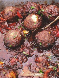 Mountain meatballs | Jamie Oliver | Food | Jamie Oliver (UK). The meatballs are stuffed with cheese then smothered in chilli sauce. Very nice
