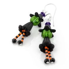 Witchy Ways Earrings | Fusion Beads Inspiration Gallery | These are the cutest dang witch earrings I have ever seen. I love her little shoes!