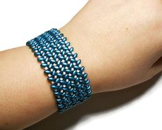 Teal and White Superduo Bracelet by SmirkingSphinx on Etsy