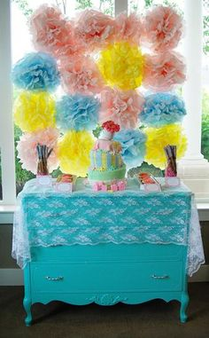 Tissue Poms display. For more great birthday party ideas and decorations visit Get The Party Started on Etsy at www.GetThePartyStarted.Etsy.com
