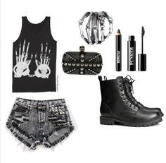 grunge alternative fashion style black boots shorts make up