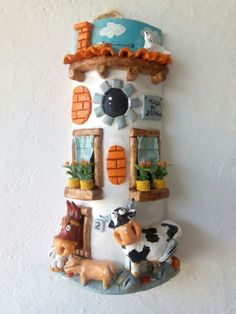 Teja decorada con vaca