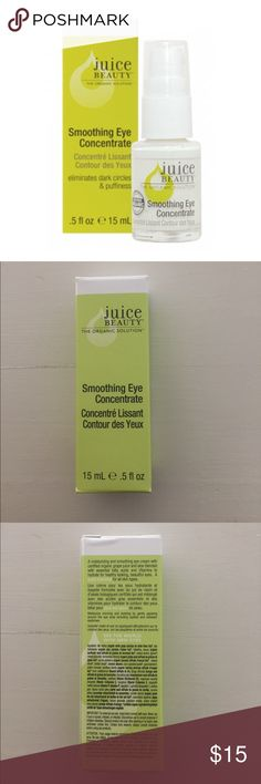 NIB Juice Beauty Smoothing Eye Concentrate A moisturizing and smoothing eye cream with certified organic grape and carrot juices blended with essential fatty acids and vitamins B5, C and P to hydrate for a healthy, beautiful eye area. A daily essential for all skin types and ideal for daily use to moisturize skin around the eyes.  Smoothes appearance of fine lines. Reduces appearance of dark circles. Provides nutrient-rich hydration. Replenishes moisture. Feeds the delicate eye area Juice…