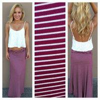 Burgundy & White Stripe Roll Down Maxi Skirt