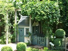 This gorgeous little playhouse with two doors allows children a circular route into or out of their playhouse.