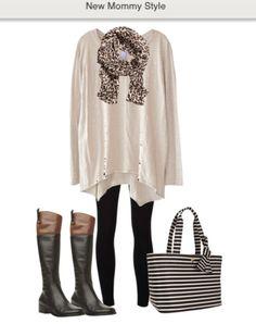Postpartum Style #leggings #tunic sweater #ridingboots #diaperbag