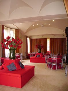 Dramatic red styling at corporate event