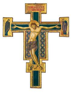 Maestro del Borgo Crocifisso (Maestro dei Crocifissi Francescani) - Crocifisso dipinto - 1255-1260 circa - Faenza, Pinacoteca Comunale