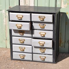 Painted Wooden Filing Drawers