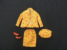 Vtg 1967 Barbie Travel Together Outfit MOD Mattel Doll Hat Skirt Shoes Jacket