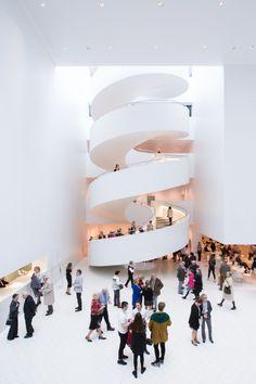 Estudio Barozzi Veiga& Philharmonic Hall Szczecin Photographed by Laurian Ghinitoiu Architecture Design, Library Architecture, Architecture Diagrams, Architecture Portfolio, Staircase Design, Spiral Staircase, Staircases, Atrium, Stair Detail