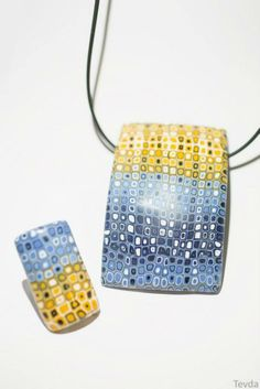 polymer clay: blue and yellow