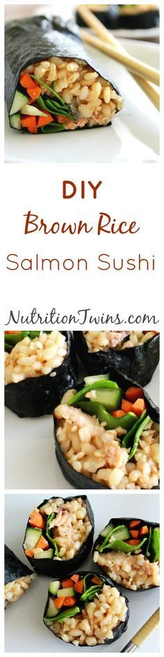 DIY Brown Rice Salmon Sushi | Only 291 Calories / 2 full rolls | Delicious sauce |Easy to make | Healthy & Packed with Protein |For MORE RECIPES, fitness & nutrition tips please SIGN UP for our FREE NEWSLETTER www.NutritionTwins.com