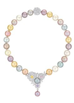 """Chanel – Les Perles de Chanel – """"Printemps de Camélia"""" necklace small model in white gold set with 374 brilliant-cut diamonds with a total weight of 5 carats, 4 marquise-cut diamonds with a total weight of 1.5 carat, 3 brilliant-cut, multi-colored sapphires with a total weight 2.5 carats and 28 cultured pearls of Tahitian, South Sea and freshwater varieties from 12 to 15 mm in diameter"""