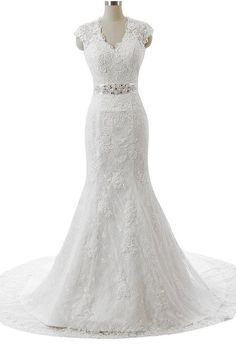 Snowskite Women's V-neck Mermaid Lace Bride Wedding Dress Bridal Gowns White 18