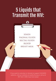 5 Liquids that Transmit the HIV.  If you want to volunteer or donate to support HIV/AIDS patients, visit our website at needincfla.org or call us at 407-661-1300. Save lives today!
