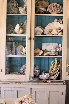 A fairly nice display of shells. Note the watercolor tucked into the 3rd shelf; I would display a few more things that are not shells - a lighthouse, a jar of seaglass, a pelican, a sailor's knot or a buoy - to give a little relief.